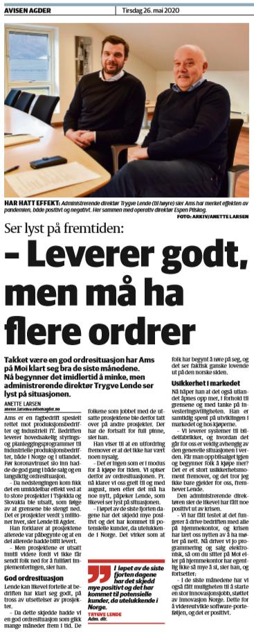 AvisenAgder artikkel om AMS under Covid19